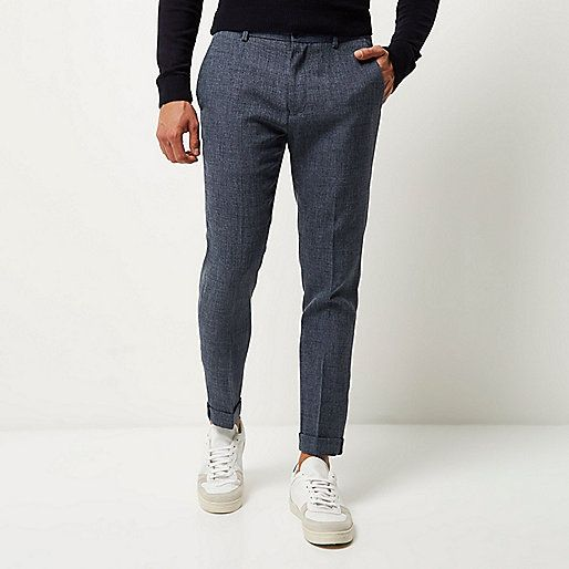 Textiured tissu Skinny fit bouton encastré et mouche zip poches latérales plis Centre de fixation recadrée long