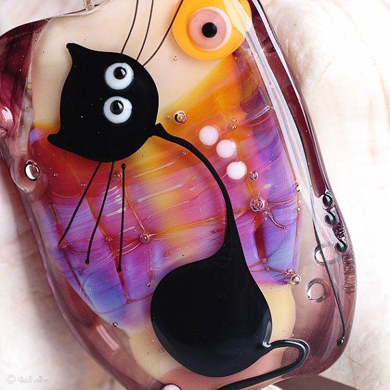 GlassBonBon Kitty  the Fairy Lampwork Beads Focal von Glassbonbon, $75,00