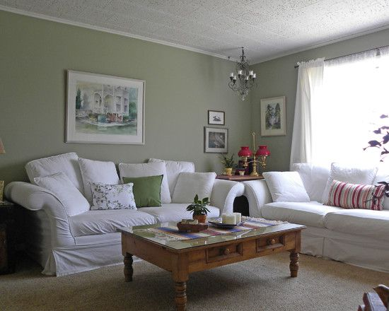 Architecture: Farmhouse Living Room Furniture Placement Sage Green Walls  White Trim And Red Accents Coffeetable White Against Sage Green With Pops  Of ... Part 93