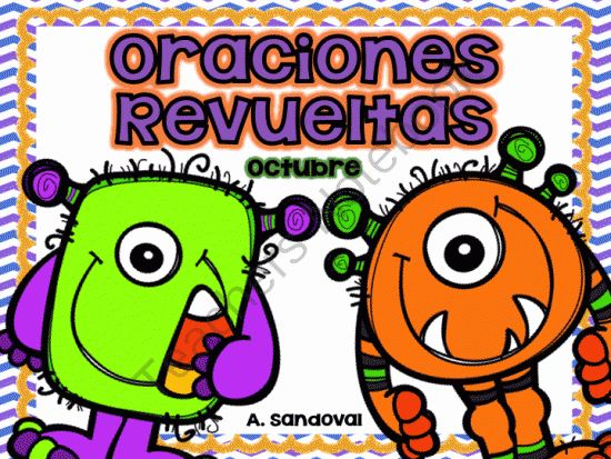 Scrambled Sentences OCTOBER in SPANISH from Angelica Sandoval on TeachersNotebook.com -  (30 pages)  - 2 options for this unit includes: Individual student sheets for independent practice Students will unscramble sentences by cutting and gluing them in order on printable sheets. Also includes color