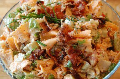 BLT pasta salad...bacon, pasta, lettuce, fresh thyme, mayo, sour cream, chives, tomatoes, milk, & garlic.