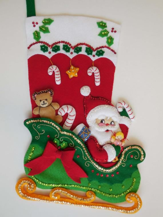 Finished Christmas Stocking  Santa's Surprises