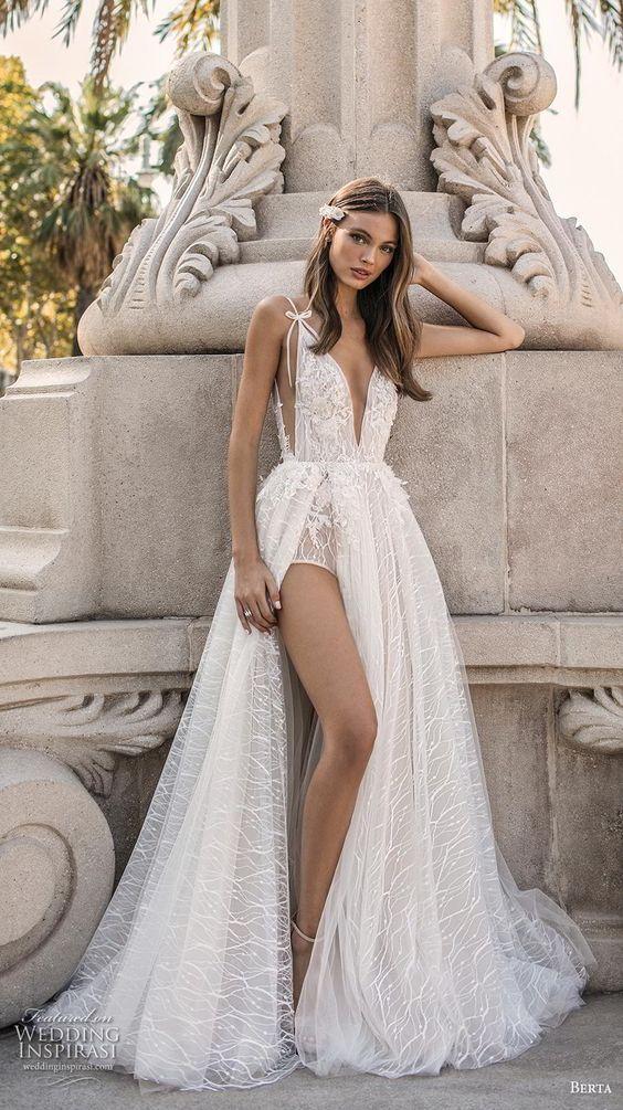 """BERTA bridal, Pantone's Colour For 2019 """"Living Coral"""" In Full Bridal Effect..."""