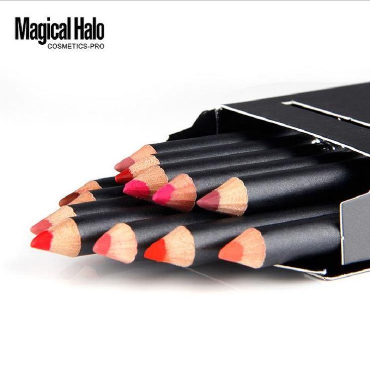 12 sztuk/partia Magiczne Halo Marka Lip Pencil Wodoodporna długotrwała Eyeliner Pen Memory Stick Miękkie Lipliner Makijaż Nago 12 kolor Zestaw Narzędzi