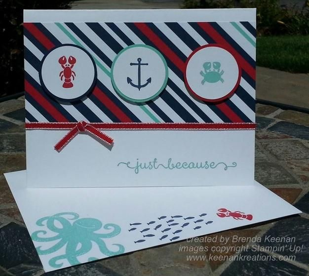 Quick and Easy Stampin' Up! card using the Sea Street stamp set and coordinating Maritime Designer Series Paper.