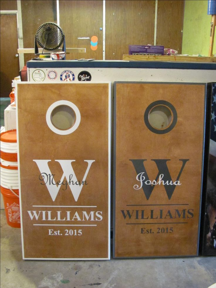 Wedding themed cornhole boards.  Personalized for the bride and groom