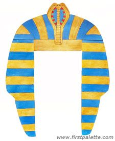 Print & Color Paper Pharaoh Headress  http://www.firstpalette.com/Craft_themes/Wearables/pharaohheaddress/pharaohheaddress.html