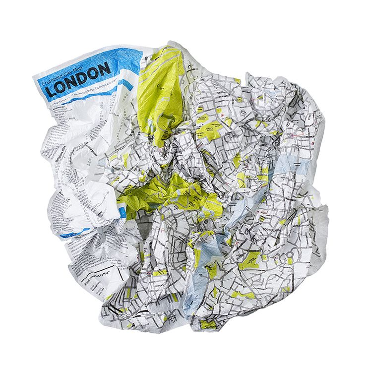London Crumpled City Map - an indestructible map printed on Tyvek. Available for 12 international cities | Designer: Emanuele Pizzolorusso | 15.00