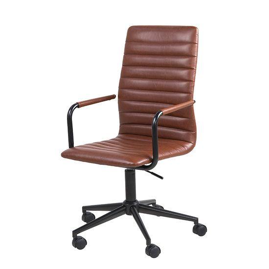 Bureaustoel Retro vintage bruin. Goed zittende bureaustoel met een sterke retro uitstraling. Met wieltjes en hoogte verstelbaar. De bureaustoel Retro wordt verkocht door https://www.meubelen-online.nl/bureaustoel-retro-bruin-pu-leder-met-zwart-metalen-poten