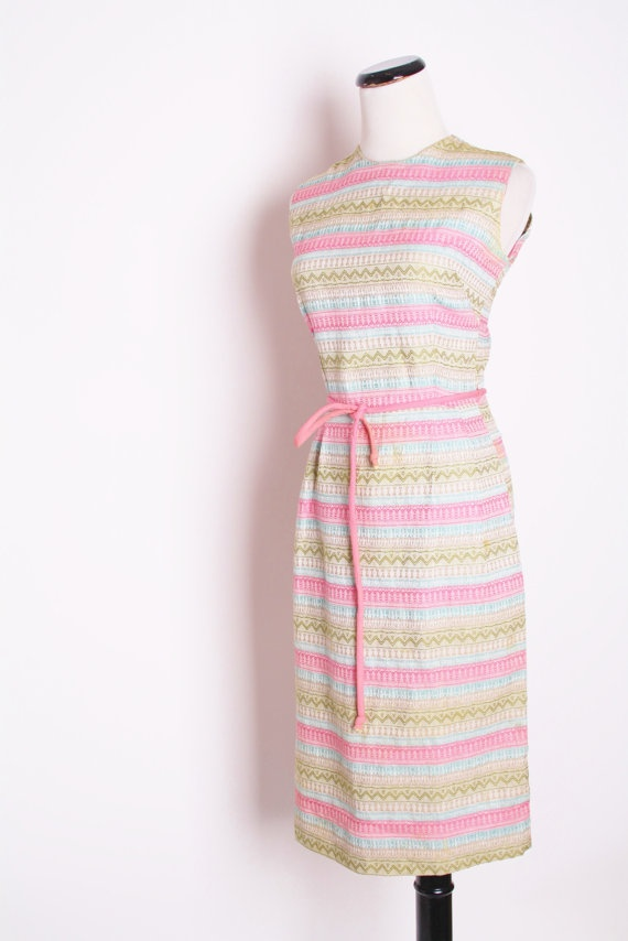 Vintage 1960s Woven Candy Pink Ikat South Western Day by aiseirigh, $58.00