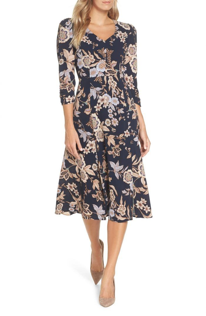 50 Stylish Fall Wedding Guest Dresses For 2018 Floral Midi Dress Winter Wedding Guest Dress Guest Dresses