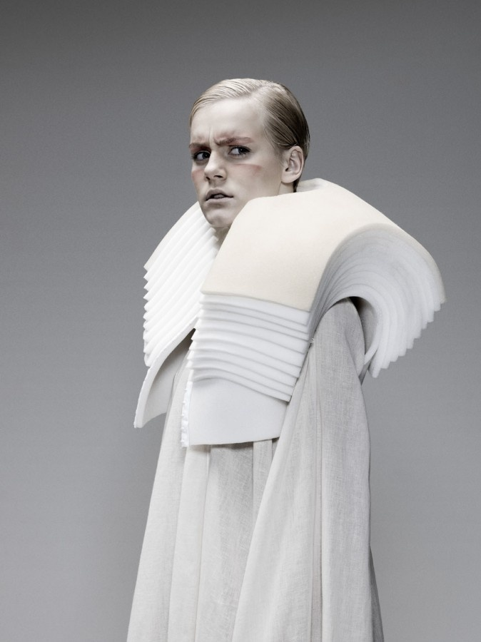 Architectural Fashion with sculptural shoulders using a layered foam structure - 3D fashion; wearable sculpture