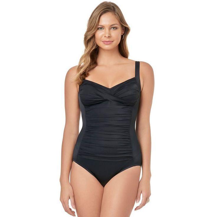Women's Croft & Barrow® Body Sculptor Control One-Piece Swimsuit, Size: 16, Black