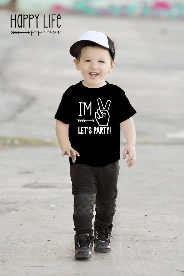 I'M TWO LETS PARTY BLACK TEE