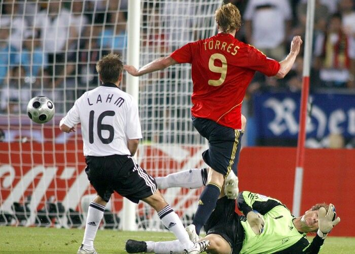 Spain 1 Germany 0 in 2008 in Vienna. Fernando Torres lifts the ball over Jens Lehmann to make it 1-0 after 33 minutes in the Final of Euro 2008.