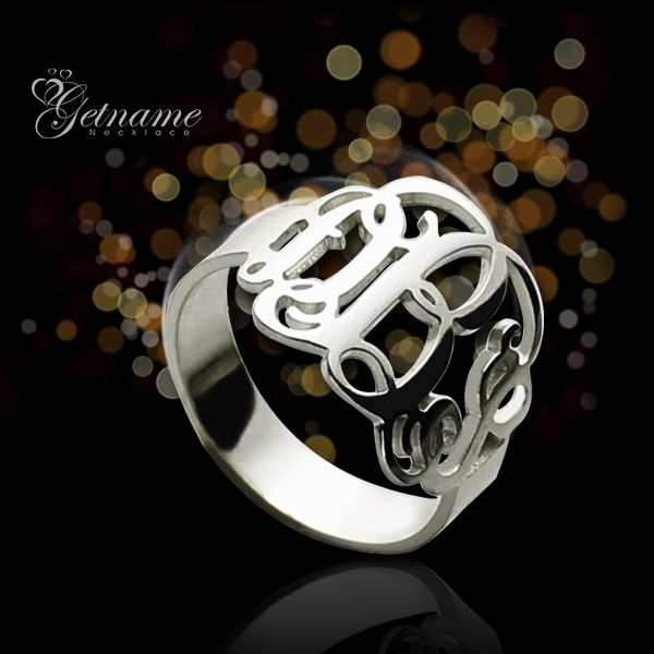Personalized Monogram Ring With Your initialss - Free Shipping From GetNameNecklace.com