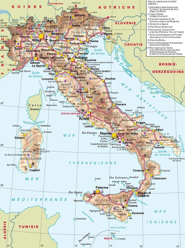 Carte de l'Italie 1 360 km du nord au sud