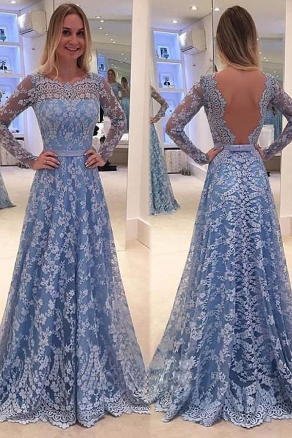 Blue Backless Lace Long Sleeves Jewel Bowknot Sweep Train Long Prom Dress  46b4fa6bf45e