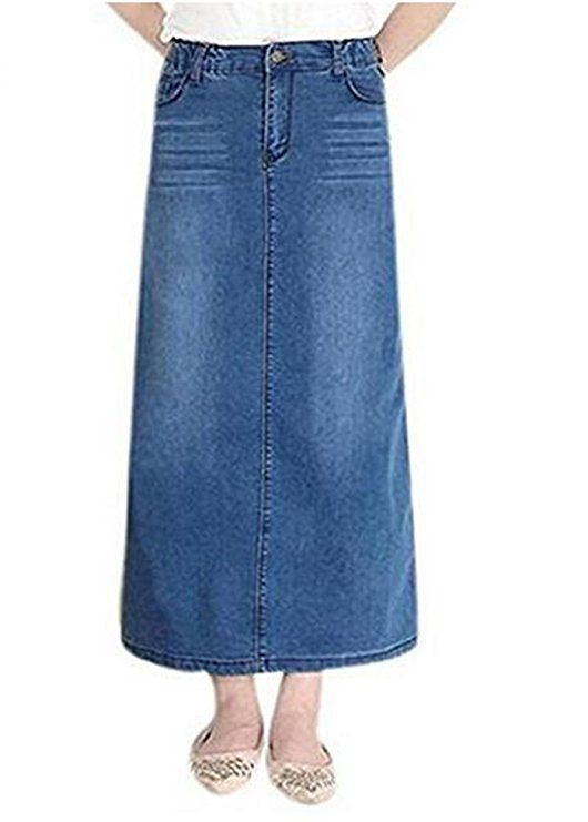 3ee74dfb0e6 Women s Maxi Pencil Jean Skirt- High Waisted A-Line Long Denim Skirts For  Ladies- Blue Jean Skirt at Amazon Women s Clothing store