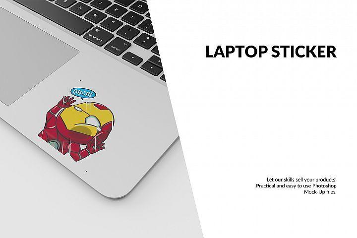 Laptop Sticker Mockup Set 188590 Mockups Design Bundles In 2021 Laptop Stickers Mockup Free Psd Mockup Design