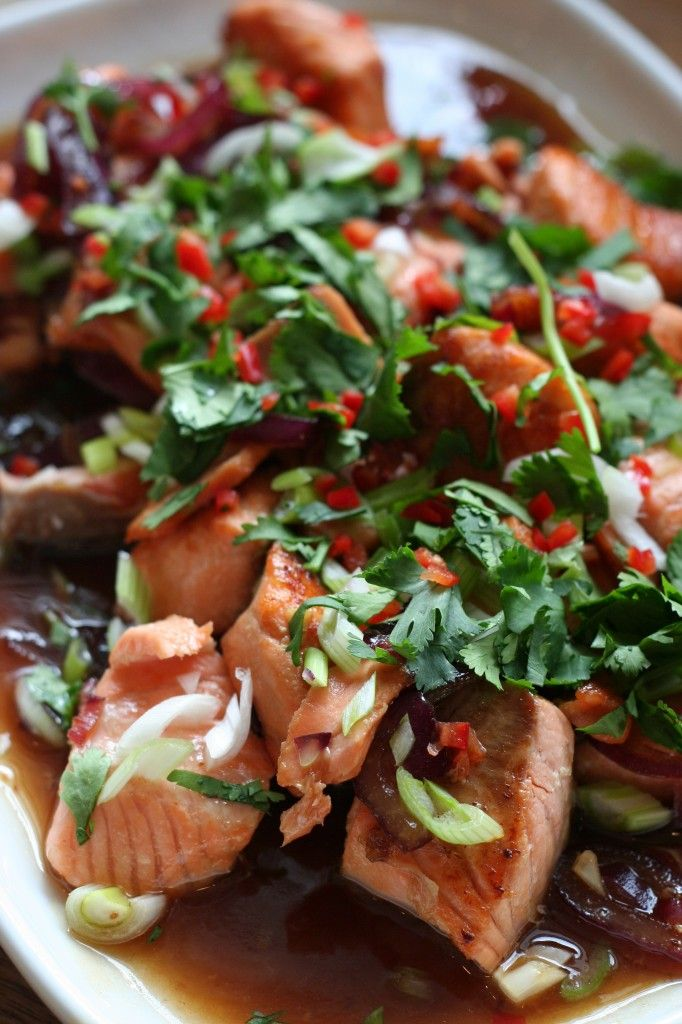 Bill Grangers caramel salmon- divine- love this served with sushi rice and bok choy!