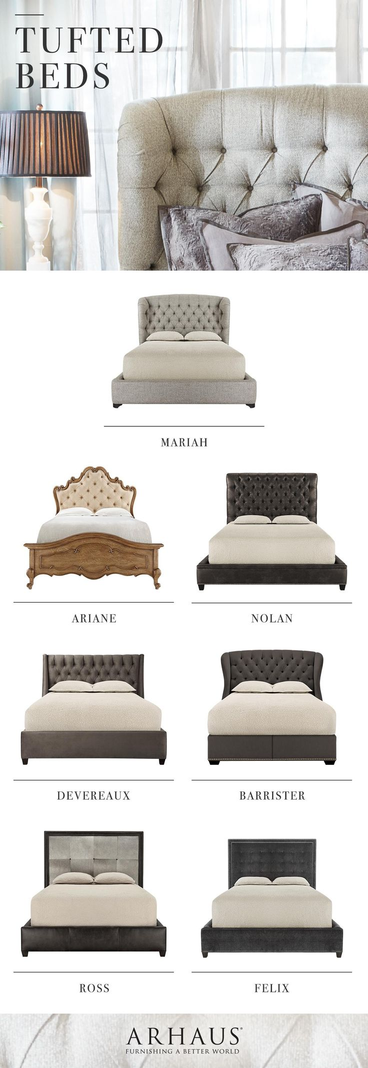 Love the tufted detail especially on a headboard! Choose your style! Shop beds and headboards at Arhaus.