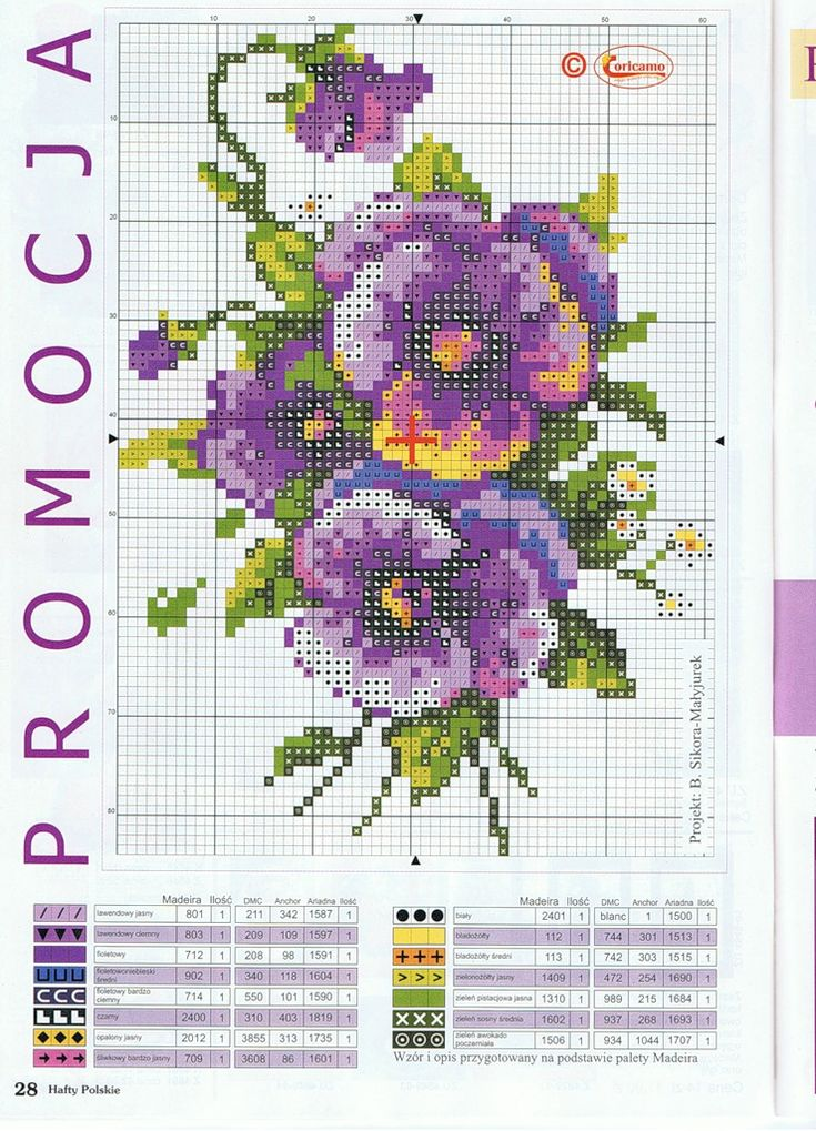 Bouquet of pansies cross stitch pattern and color chart.