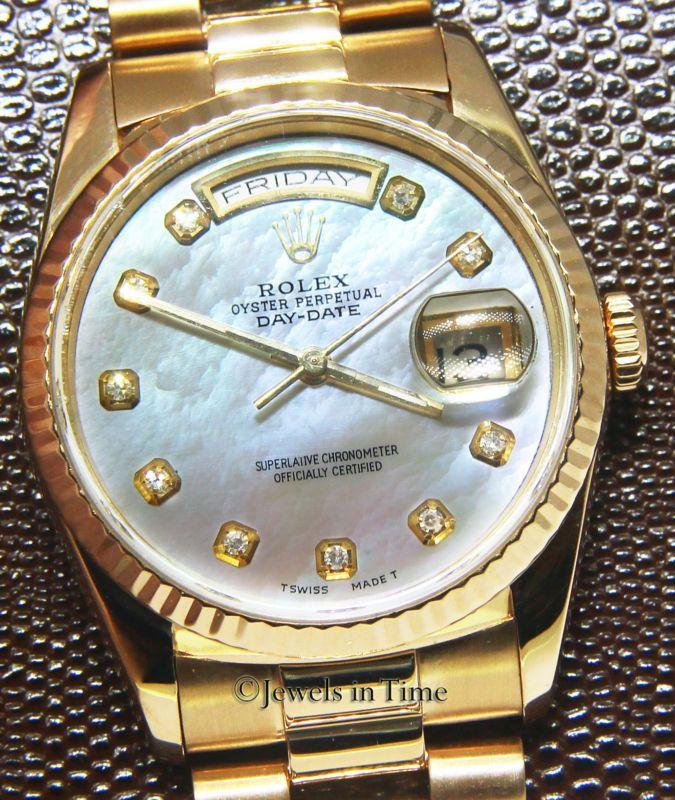 Rolex Día-Fecha Presidente 18k Oro Amarillo Madre de Perla Diamante Dial Reloj para hombre 18238