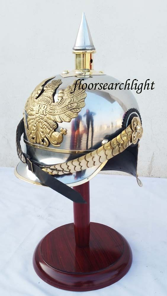 WWI GERMAN PICKELHAUBE STEEL & BRASS HELMET FR PRUSSIAN OFFICER S SPIKE HELMET
