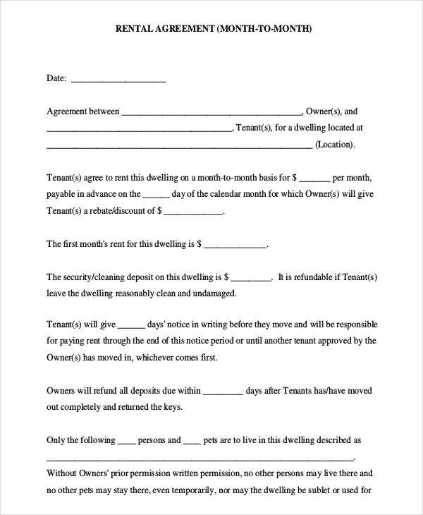 8 Room Rental Agreement Templates Rental Agreement Templates