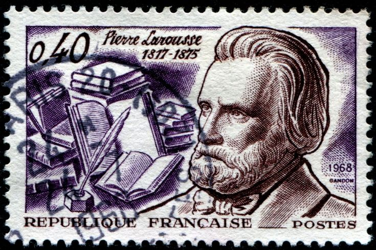 Pierre Athanase Larousse (1817-1875) was a French grammarian, lexicographer and encyclopaedist. Here is an image of a stamp featuring a likeness of Larousse, a quill pen and inkwell, and a number of books, designed and engraved by Pierre Gandon, and issued by France on May 11, 1968, Scott No. 1213, Y&T No. 1560.