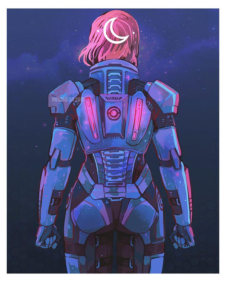 ME art,фэндомы,ME персонажи,Femshep,Commander Shepard,Weissidian