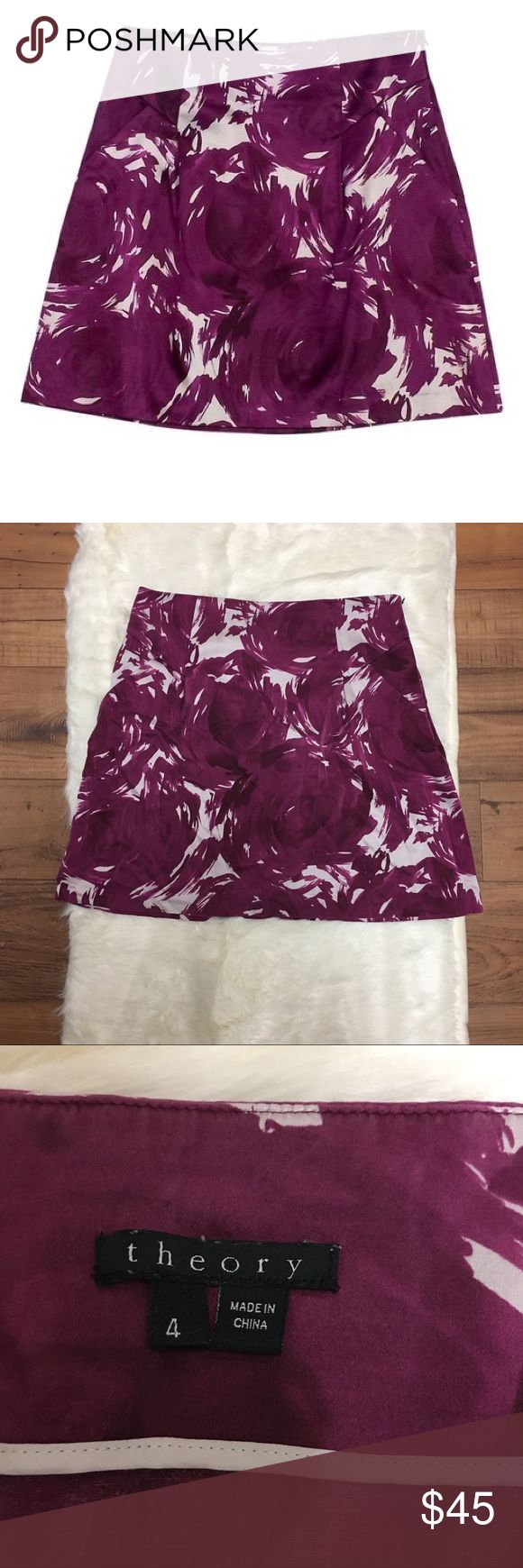 Theory Magenta Swirl Print Miniskirt Theory Magenta swirl print mini skirt. Zipper on the side. Pockets. 55% silk, 42% cotton, 3% spandex. Perfect condition. Length: 17 inches Waist: 14 inches across Theory Skirts Mini