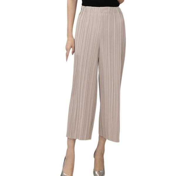 Women Loose Pant Elastic High Waist Pleated Pants Casual