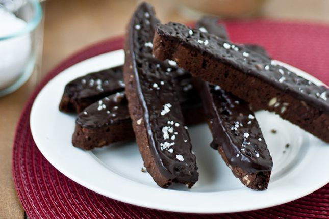 These biscotti are made with cocoa powder, dipped in chocolate and sprinkled with salt.