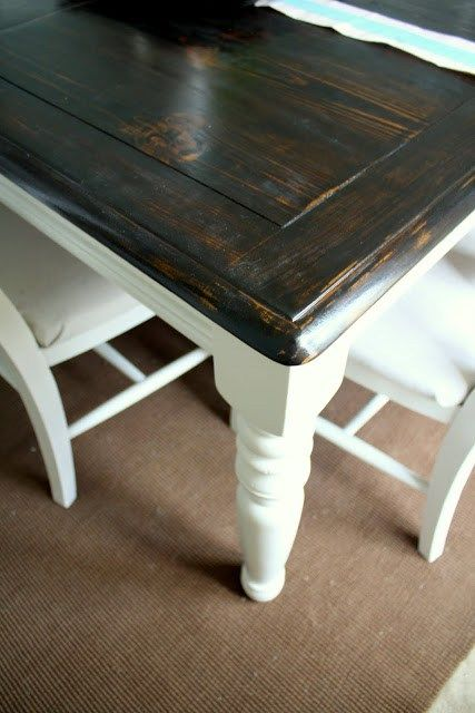 "Here's the breakdown of how I refinished the table. Here it is before, in all of its honey oak glory: I had been looking for a ""farmhouse"" type table forever, but I knew that I wanted to find a cheap one that I could refinish. I liked the chunky legs and the table top on...Continue Reading"
