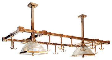 Europa Cosmopoliltan Copper Pot Rack and Overhead Lighting - Howard Kaplan Designs   ᘡղbᘠ
