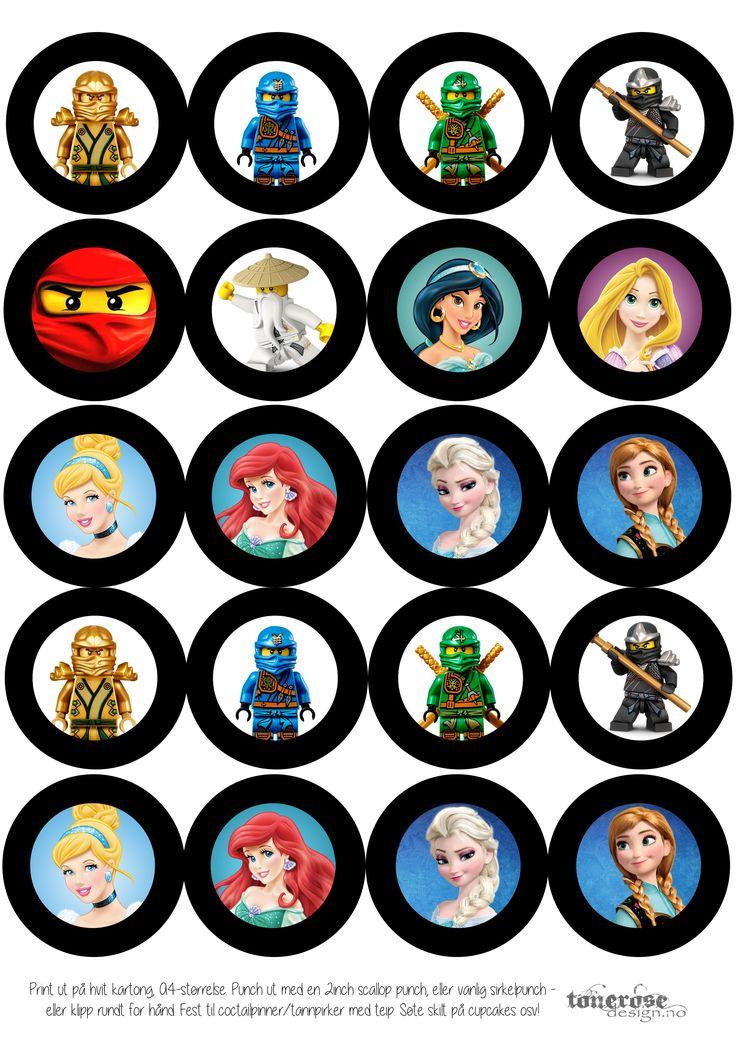 Free printable ninjago cupcakes CupcakeSkilt Ninjago Prinsesser