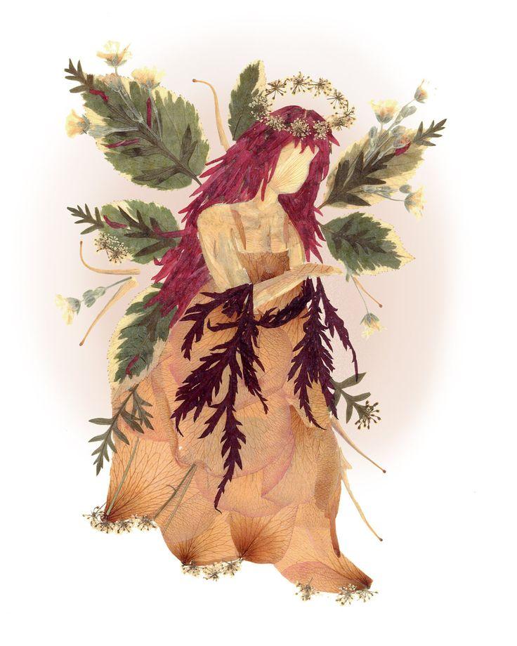 Pressed Flower Fairy of Peace - Fairy Flower Art - Fantasy Real Flowers. $375.00, via Etsy.
