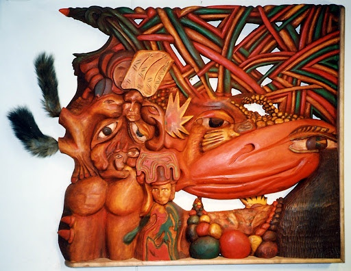 Kahdenkeskisen hiljaisuuden syy Reason for the mutual silence Reliefi koivua Wooden relief, birchwood 120 x 100cm /E. Hocksell