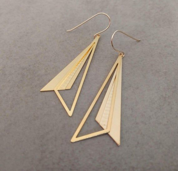Geometric Earrings Dangle Earrings Gold Earrings Jewelry Earrings Etsymktgtool Hexagonearrings G Geometric Earrings Geometric Jewelry Triangle Earrings