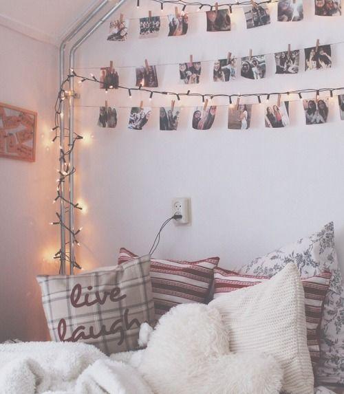 tumblr-inspired.. white decor/pictures/lights