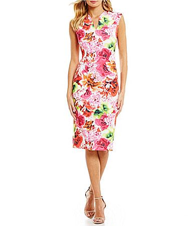 Getting to Know You. AVAILABLE AT DILLARDS! CeCe Floral Tropic Scuba Midi Sheath Dress #Dillards