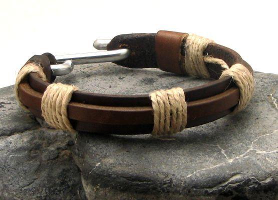 FREE+SHIPPING+Men's+leather+bracelet+Brown+leather+by+eliziatelye,+$31.00