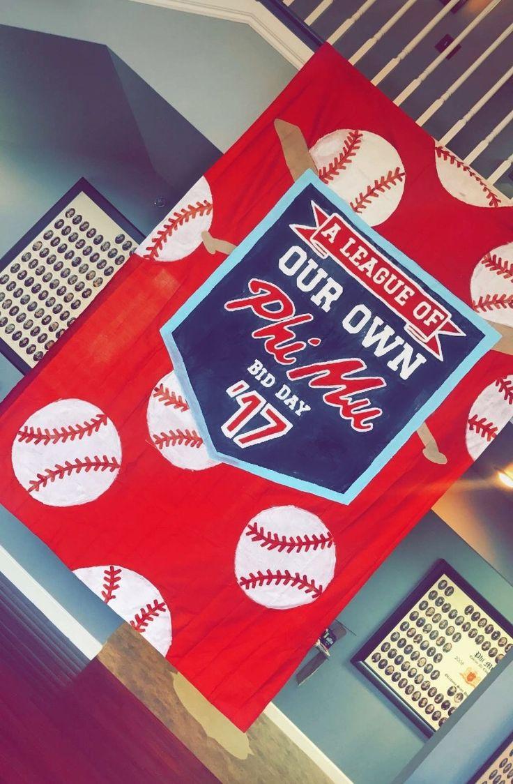 oklahoma state university - phi mu (ΦΜ) - sorority banner - bid day banner - baseball - a league of our own