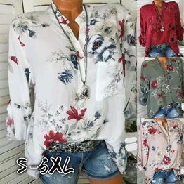 efa17254983e Blusa con cuello en V para mujeres Camisas de manga larga Blusas con ...