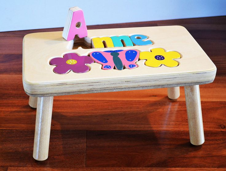 Puzzle Stool With Butterfly And Flowers Stools