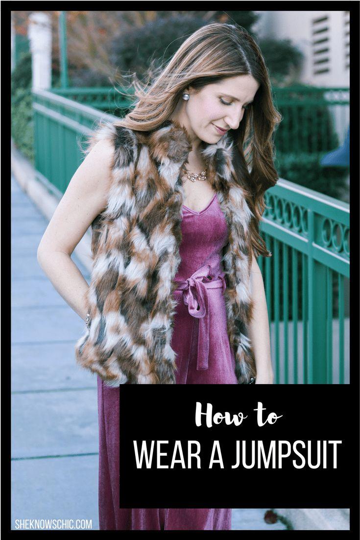 how to wear a jumpsuit, velvet jumpsuit, jumpsuit outfit, jumpsuit winter, jumpsuit with vest, faux fur vest outfit, party outfit, new years eve outfit