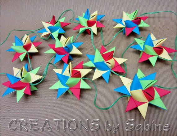 "Paper Star Garland Decoration / 98"" Red Green Yellow Blue / Baby Nursery Children's Room Decoration Mobile Hanging Stars  by CREATIONSbySabine, $24.00"