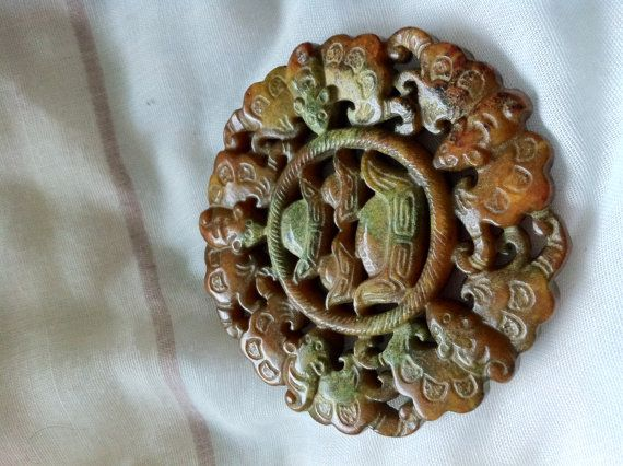 Hand Carved Serpentine Jade Medallion by HandCarvedStore on Etsy, $27.99
